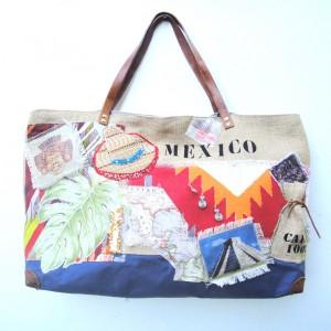 sac cabas carnet de voyage Mexique,fait main, pièce unique, finition soignées, voyages,