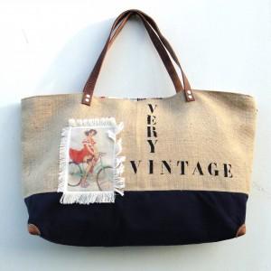 sac cabas jute illustration vintage, finition soignées, original, spacieux, fonctionnel, solide