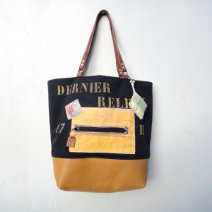 sac cabas toile noire et or vintage, fait main, finitions soignées, produit français