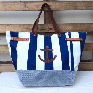 Sac cabas - Rayé Bleu Blanc - ancre marine