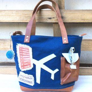 Sac toile bleu & cuir fauve - Avion à destination