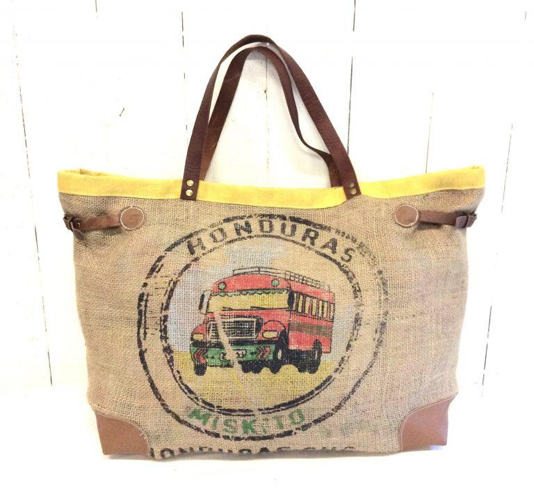 Sac cabas toile de jute - sac de café - jaune - médaillon bus