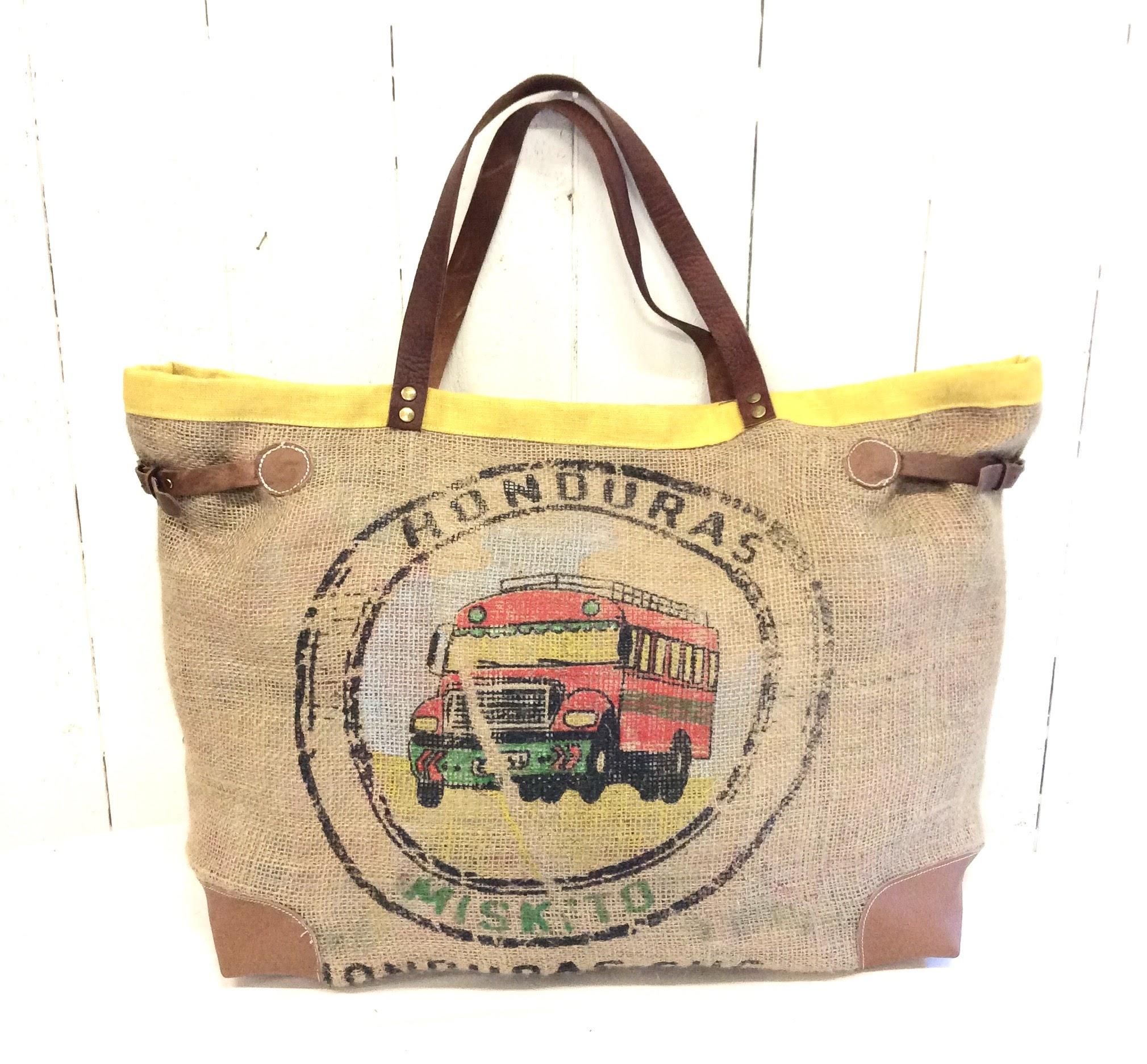 best sell great fit best quality Sac cabas toile de jute - sac de café - jaune - médaillon bus