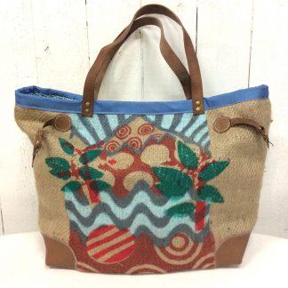 Sac cabas toile de jute -sac de café - Impressions multicolores - bleu