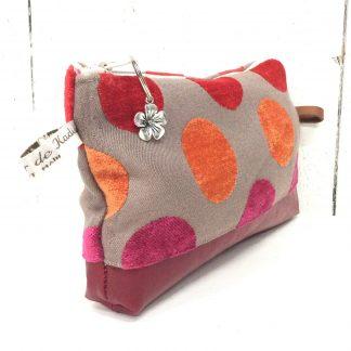 Trousse de sac taupe à pois rouges & oranges - cuir rouge