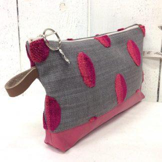 Trousse de sac taupe à pois ovals roses - cuir rose