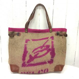Sac cabas toile de jute - sac de café - inscriptions rose