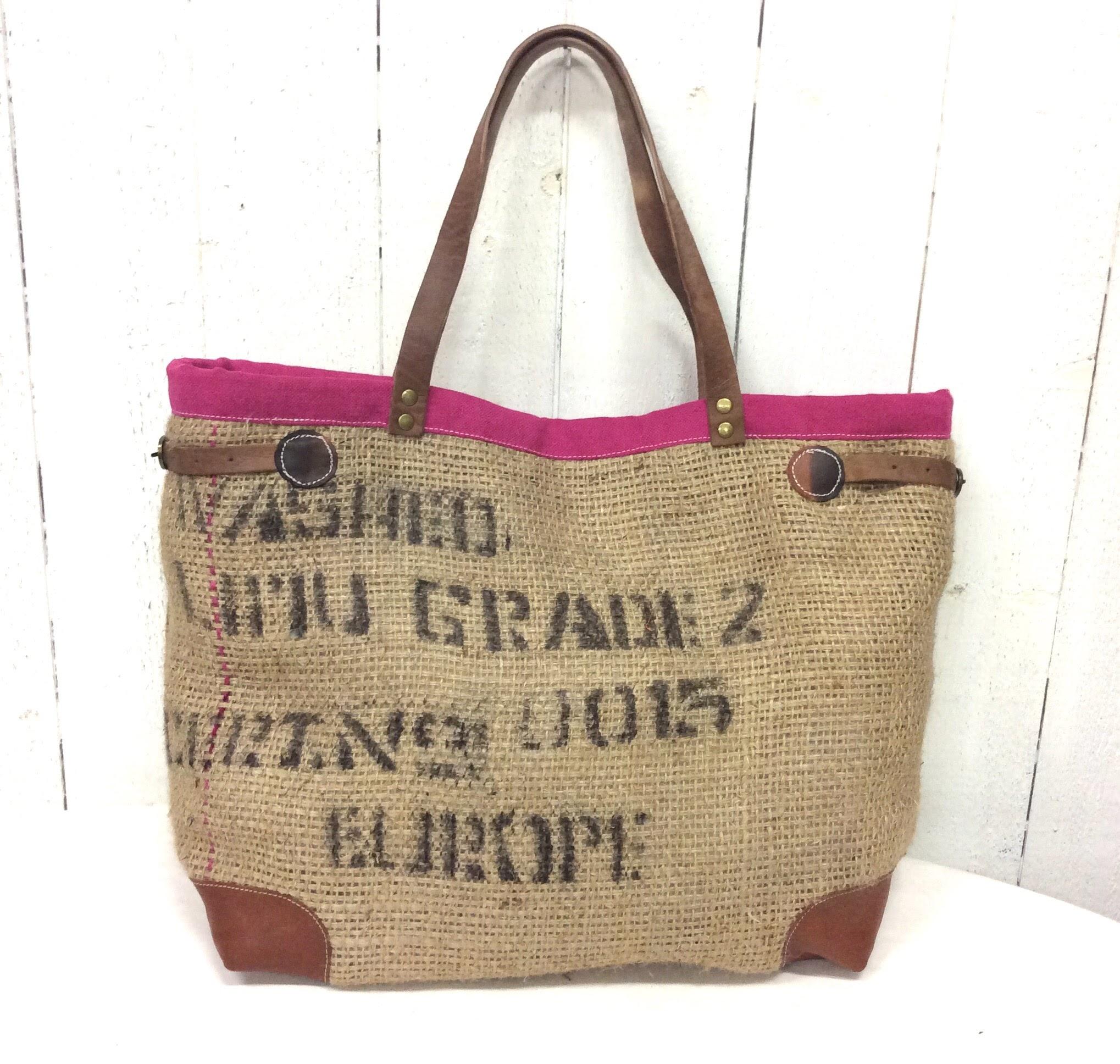 vente chaude en ligne ccbb1 61d22 Sac cabas toile de jute - sac de café - inscriptions roses