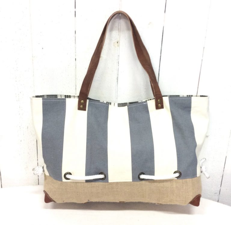 Sac cabas marin - Toile rayée grise & blanche