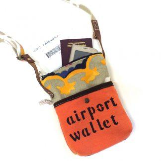 Pochette aéroport orange -rosace style bohème