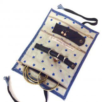 Trousse bijoux bleu étoiles bleues (3)