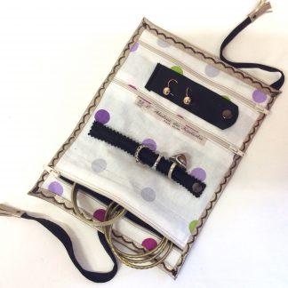 Trousse bijoux voyage doré pois violets (1)