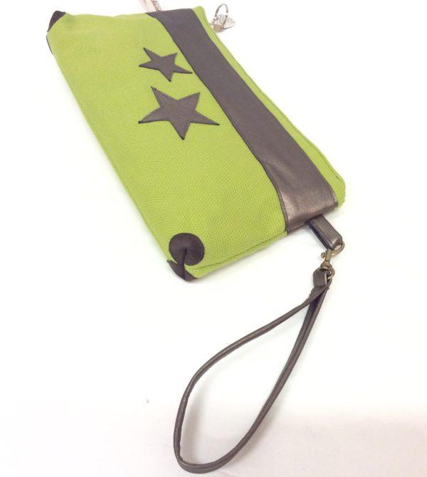 pochette de sac vert anis-cuir bronze-étoiles