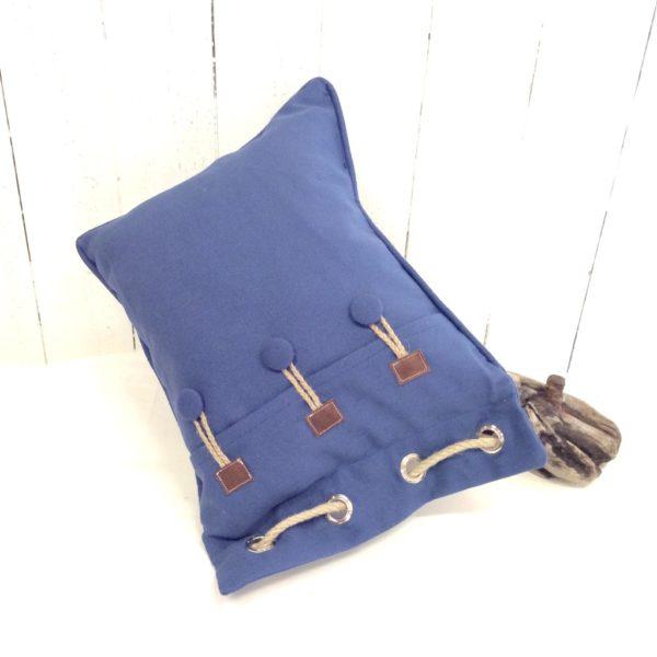 coussin rectangulaire bleu-beige-bouées