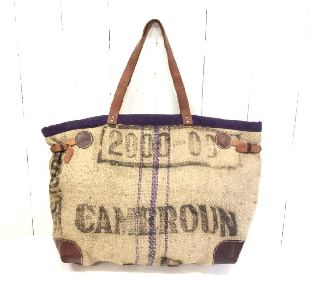 recognized brands online for sale huge sale Sac cabas toile de jute - toile de café - inscriptions noires-violet