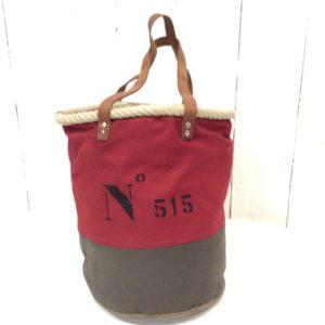 sac seau marron-rouge-inscription N°1