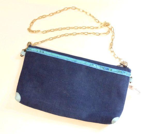 pochette collection Maya bleu marine-strass bleu turquoises-étoile