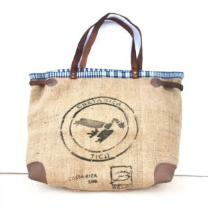 sac cabas sac de café bordure bleu carreaux blancs