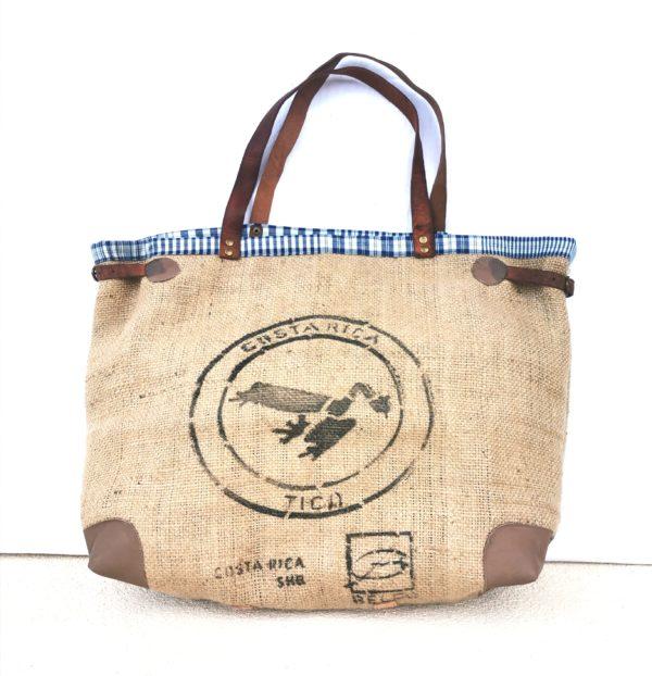 sac cabas sac de café bordure bleu carreaux blancs
