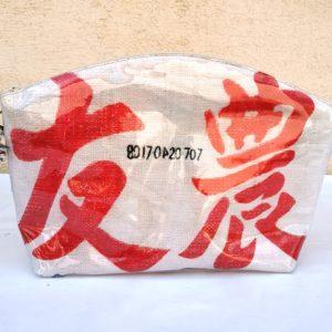 Trousse de toilette en sac de marchandise blanche/rouge-grandes lettres asiatiques