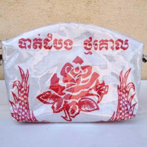 trousse de toilette en sac de marchandise rouge et blanc -fleur rose