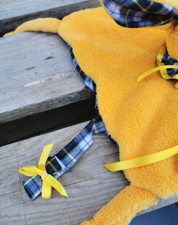 Duo doudou lapin jaune/ écossais bleu vert