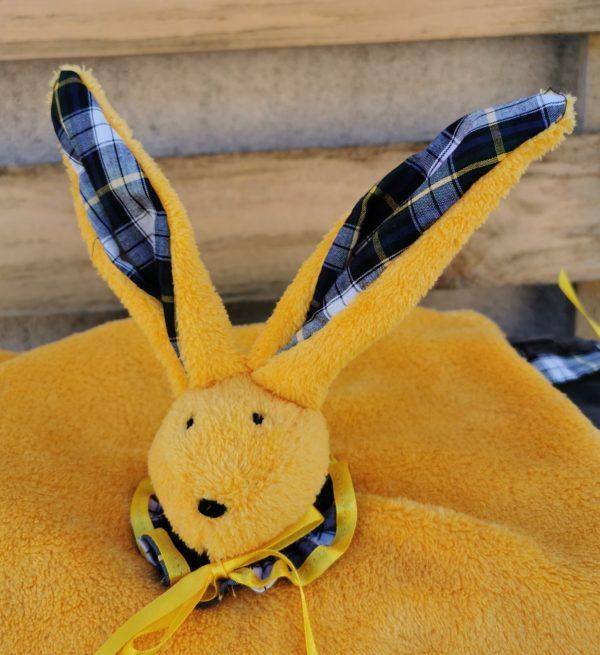 Duo doudou lapin jaune /écossais bleu vert