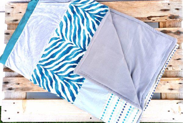 Plaid déco-douceur turquoise et gris