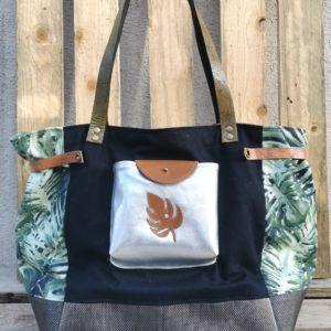 sac cabas toile noire/feuillage exotique-cuir argenté doré