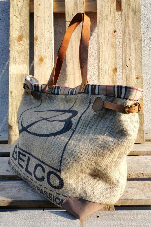 sac cabas sac de café/écossais beige, rouge, noir