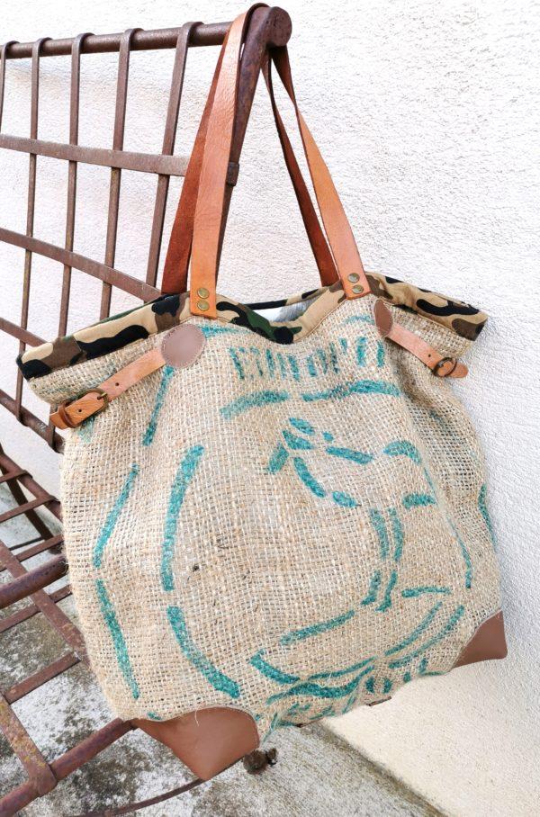 sac cabas sac de café inscription verte/bordure toile camouflage