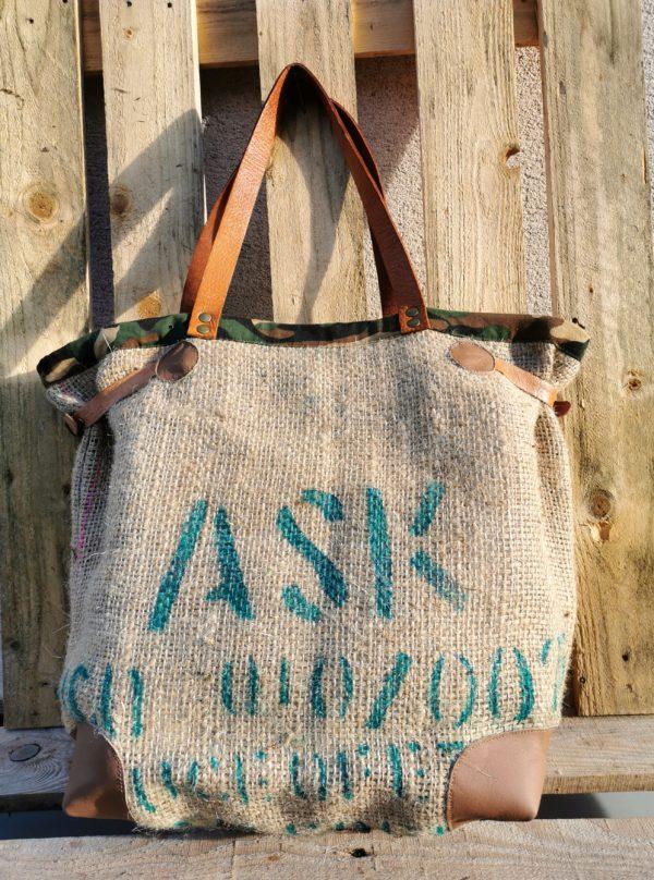 sac cabas toile de jute sac de café inscription verte/bordure toile de camouflage