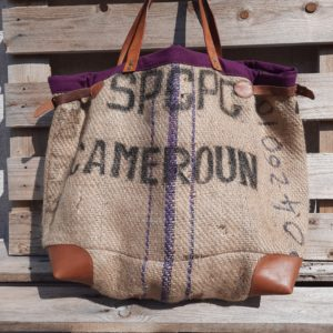 Cabas sac de café cameroun-bordure prune