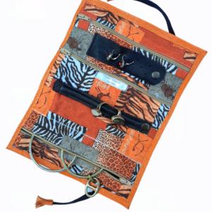 Trousse à bijoux cuir orange-intérieur exotique