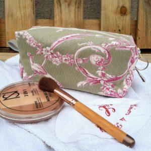 Trousse maquillage carrée, toile de jouy taupe/rose